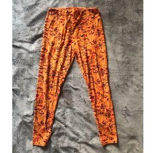 Lularoe orange printed leggings